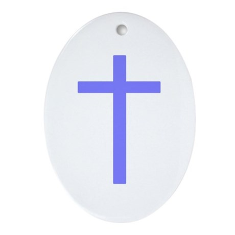 Purple Cross Oval Ornament