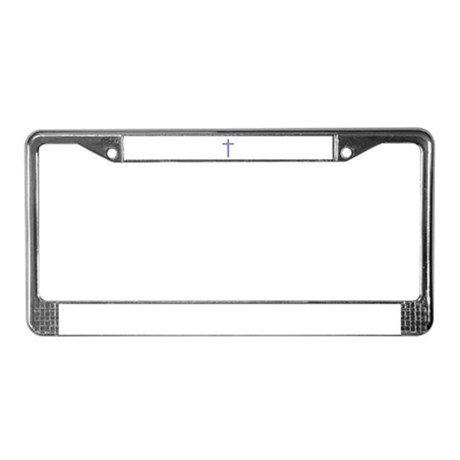 Purple Cross License Plate Frame