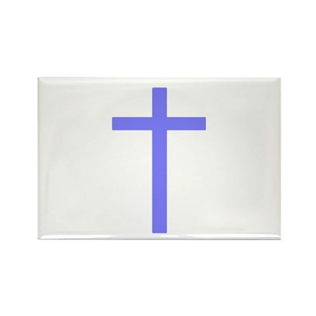 Purple Cross Rectangle Magnet