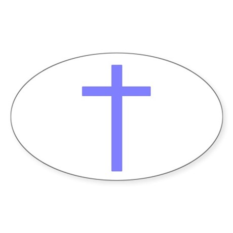 Purple Cross Oval Sticker