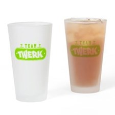 Neon Green Team Twerk Drinking Glass