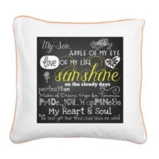 My Son Inspirational Square Canvas Pillow