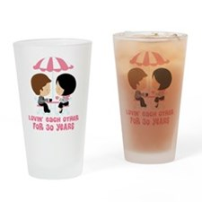 30th Anniversary Couple in Paris Drinking Glass