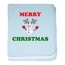 Merry Christmas Snowman baby blanket