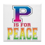 P is for Peace Tile Coaster