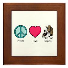 Peace Love & Bassets Framed Tile