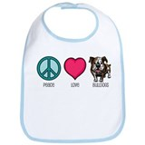 Peace Love & Bulldogs Bib