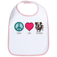 Peace Love & Bulldogs Bib