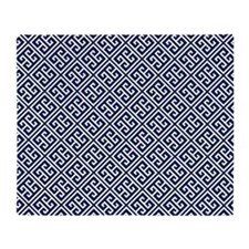 Navy Blue Greek Key Pattern Throw Blanket