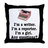 Pink Typewriter Throw Pillow