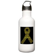 Childhood Cancer Word Shape Water Bottle