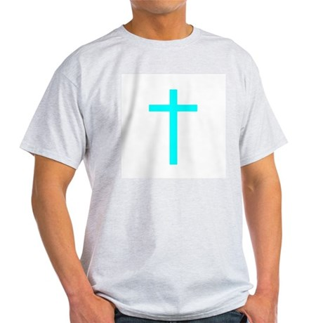 Teal Cross Ash Grey T-Shirt