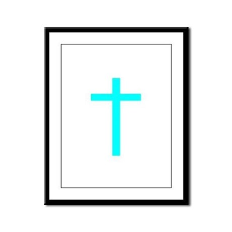 Teal Cross Framed Panel Print
