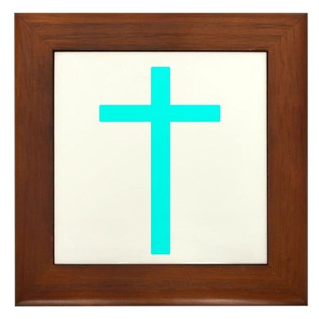 Teal Cross Framed Tile