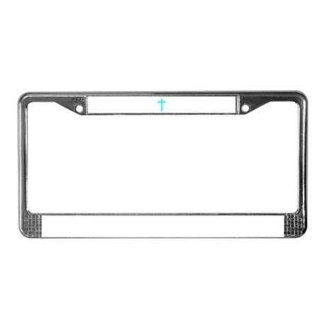 Teal Cross License Plate Frame