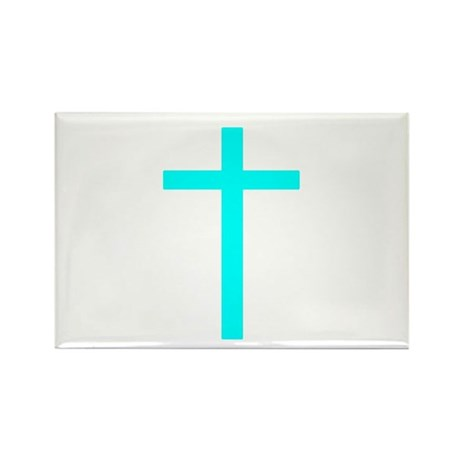 Teal Cross Rectangle Magnet (10 pack)