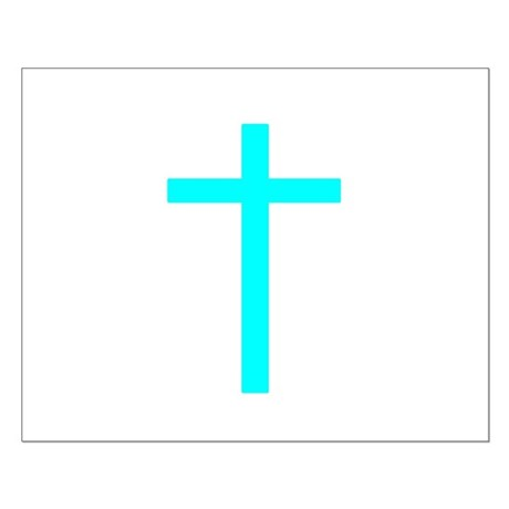 Teal Cross Small Poster