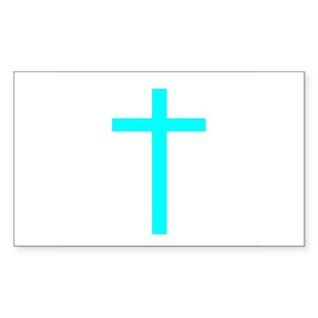 Teal Cross Rectangle Sticker