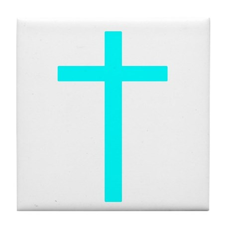 Teal Cross Tile Coaster