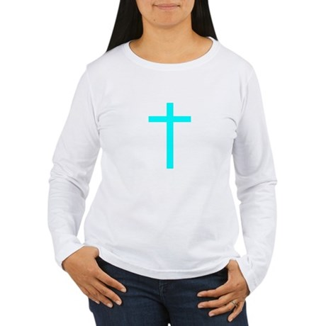 Teal Cross Women's Long Sleeve T-Shirt