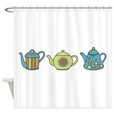 Teapot Border Shower Curtain