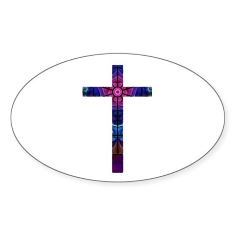 Cross 012 Oval Sticker