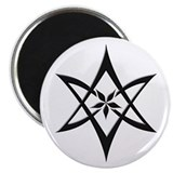 Black Curved Unicursal Hexagram Magnet