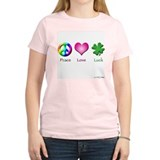 Peace Love Luck Women's Pink T-Shirt