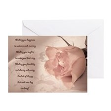 Pale pink rose verse Greeting Cards (Pk of 20)
