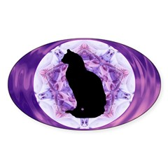 Kaleidoscope Cat Oval Sticker