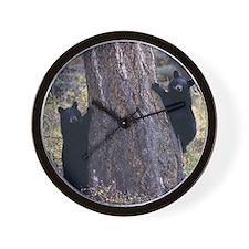 black bear cubs Wall Clock