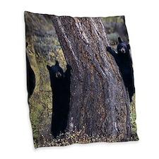 black bear cubs Burlap Throw Pillow