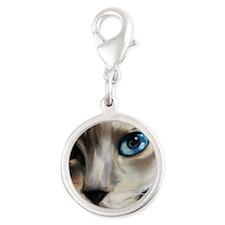 Siamese Silver Round Charm