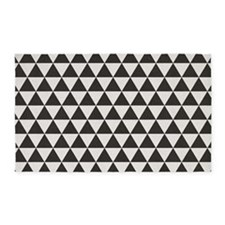 3'x5' Area Rug Black + White Flowww