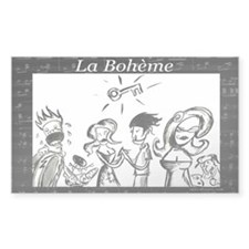 La Boheme black & white Rectangle Decal