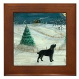 Winter Labrador Framed Tile
