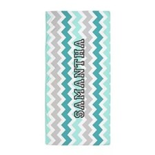 Aqua Grey Chevron Custom Name Beach Towel