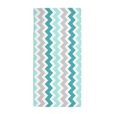 Aqua Grey Chevron Pattern Beach Towel