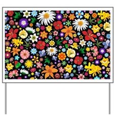 Spring Flowers Pattern Yard Sign