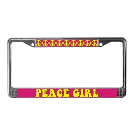 Peace Girl License Plate Frame