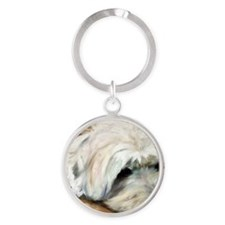Dog Tired Round Keychain