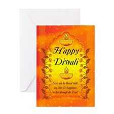 Stylish Diwali Card With Lamps