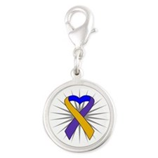 Bladder Cancer Heart Ribbon Silver Round Charm