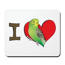 I heart parakeets (Green) Mousepad