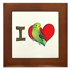 I heart parakeets (Green) Framed Tile