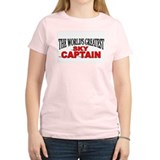 """The World's Greatest Sky Captain"" Women's Pink T-"