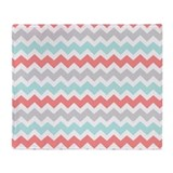 Aqua grey coral Fleece Blankets