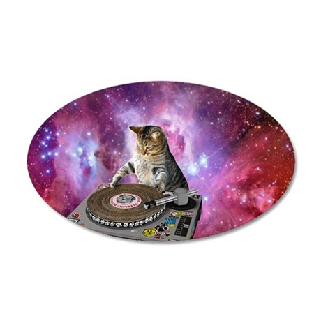 DJ Space Cat 35x21 Oval Wall Decal