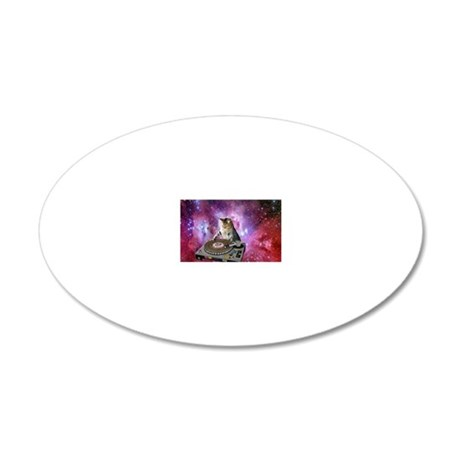 DJ Space Cat 20x12 Oval Wall Decal