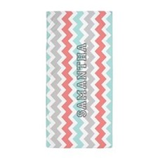Aqua Grey Coral Chevron Name Beach Towel